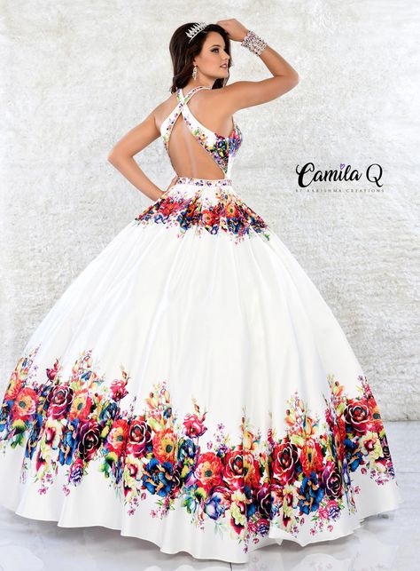 Camila Q Colorful Patterned Quinceañera Dress by Karishma Creations (Dress Size: 18)