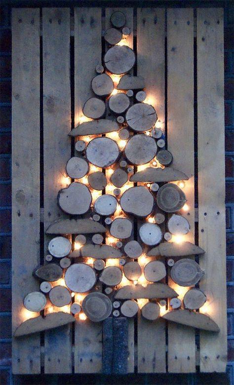 Wood on Wood Lit Indoor or Outdoor Christmas Tree | 40+ Unique Christmas Tree Alternatives | Art & Home Decor Blog  #ChristmasTrees #Christmas #Decor #Decorations