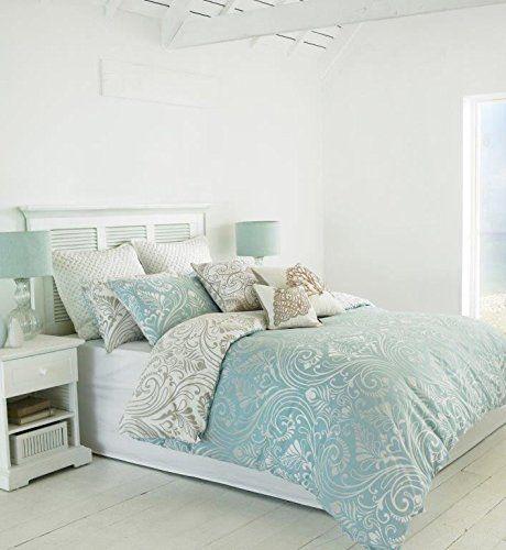 Damask Duck Egg Blue Reversible Cotton Blend King Size Duvet Cover Bedding Sets Uk Blue Bedding Sets Duvet Sets
