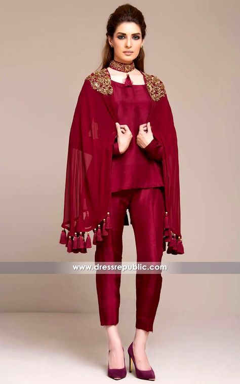Latest Pakistani Cape style dresses collection includes top designer capes for formal, party wear and weddings.