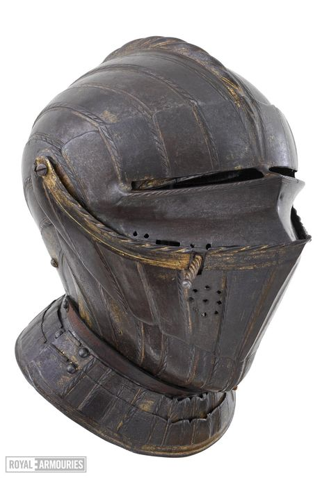 Composed of parts of at least three armours of the same date and nationality. Consisting of close helmet, gorget, breastplate, backplate, tassets pauldrons, vambrace, gauntlets, cuisses, poleyns, greaves and sabatons.