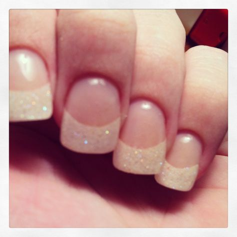Trendy Nails Shellac Glitter French Tips Ideas