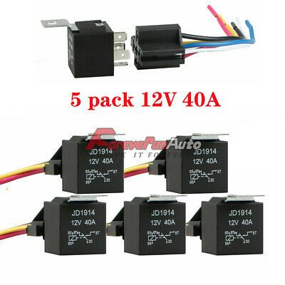 Details About 5 Pack 12v 30 40 Amp 5 Pin Spdt Automotive Relay With Wires Harness Socket Set In 2020 Socket Set Packing Car Sockets