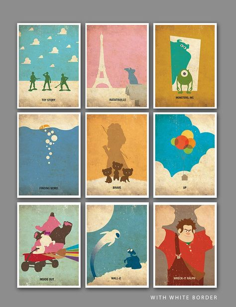 Pixar Vintage Minimalist Poster Set of 9 Art Prints
