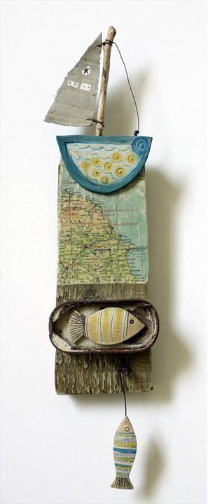 Sailing East Coast - Shirley Vauvelle  earthenware driftwood vintage map - interesting!