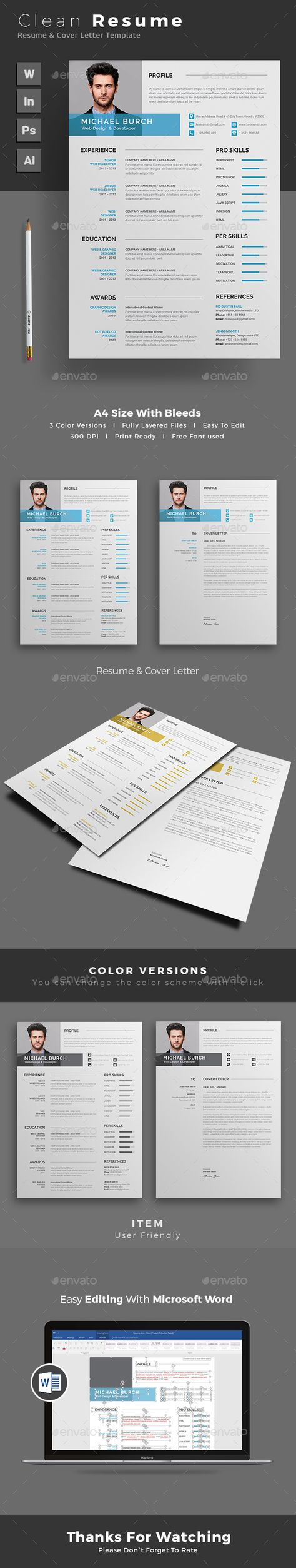 Free Professional Resume Letter u0026 Portfolio Templates