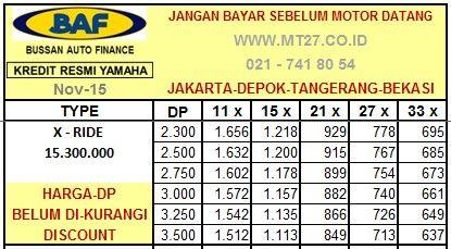 Yamaha X Ride Tabel Angsuran Daftar Harga Baf Kredit Motor Baru Kredit Motor Murah Yamaha Jakarta Pinterest