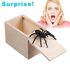 Hilarious Scare Box Spider Prank Wooden Scarebox Joke Halloween Scary Toy Gift