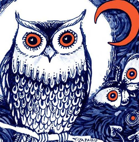 Night Owl art print owl picture from original drawing by ArtSoulCreations