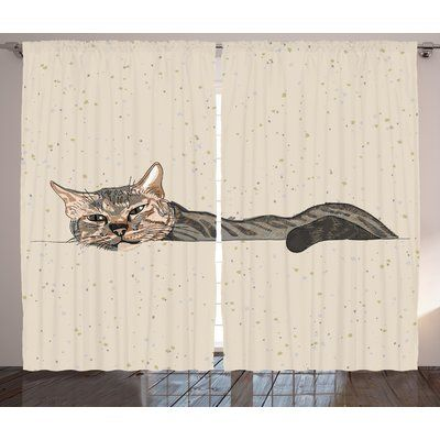 Latitude Run Cromartie Cat Lazy Sleepy Cat Figure in Earth Tones Cute Furry Mascot Indoor Pet Art Illustration Graphic Print & Text Semi-Sheer Rod ...
