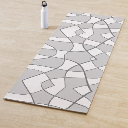 Abstract Pattern Gray And White Yoga Mat Zazzle Com