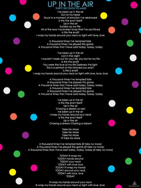 Up In The Air Lyrics Via A Call To Arms 30 Seconds To Mars 30