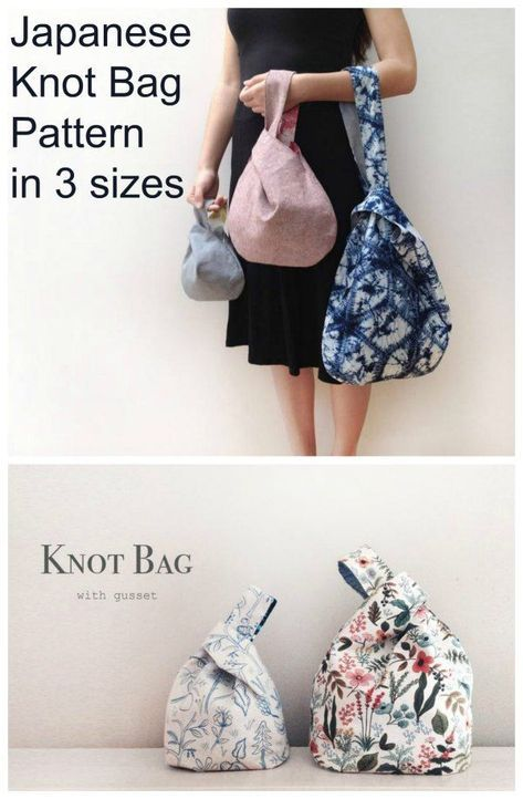 Japanese Knot Bag Pattern - Sew Modern Bags Sewing pattern for a Japanese Knot Bag. This simple to sew bag is the ideal bag sewing pattern for beginners. The longer loop pulls through the shorter one Easy Sewing Patterns, Bag Patterns To Sew, Easy Sewing Projects, Sewing Projects For Beginners, Sewing Hacks, Sewing Tutorials, Sewing Tips, Japanese Sewing Patterns, Bags Sewing