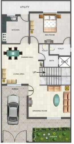 Image Result For House Plan 20 X 50 Sq Ft Duplex House Design Duplex Floor Plans Model House Plan