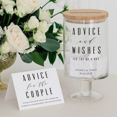 Personalized Glass Wedding Wishes Guest Book Jar - Advice and Wishes Cute Wedding Ideas, Unique Wedding Reception Ideas, Guest Book Ideas For Wedding, Unique Guest Book Ideas, Small Wedding Decor, Diy Wedding Table Decorations, Diy Wedding Signs, Useful Wedding Favors, Wedding Keepsake Ideas For Guests