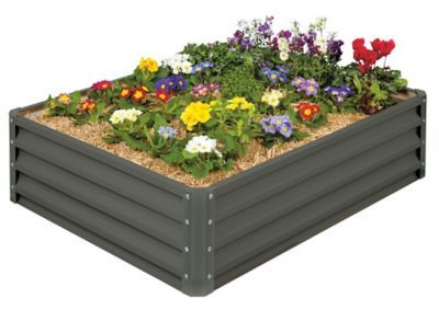 Raised Garden Bed Slate Gray With Images Vegetable Garden Beds Metal Garden Beds Garden Bed Kits