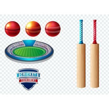 Set Of Cricket Sports Template Logo Elements Ball Bat Use As