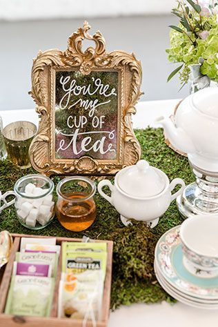 Whimsical Tea and Coffee Station An elegant yet whimsical royal wedding inspired tea party elopement styled shoot by Something Blue Photography & Design. Tea Party Theme, Tea Party Wedding, Tea Party Birthday, Elope Wedding, High Tea Wedding, Wedding Blog, Afternoon Tea Wedding Reception, 2nd Birthday, Tea Party Games
