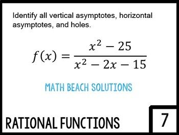 Attributes Of Rational Functions Card Sort Activity Rational Function Rational Expressions Sorting Cards
