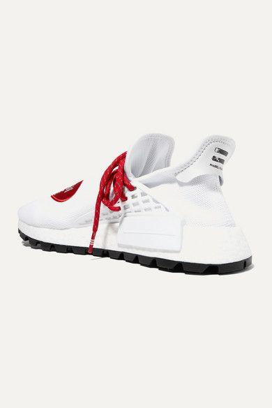 Adidas Originals Pharrell Williams Human Made Nmd Hu Appliqued Stretch Knit Sneakers Net A Porter Com In 2020 Knit Sneakers Chic Sneakers Pharrell Williams