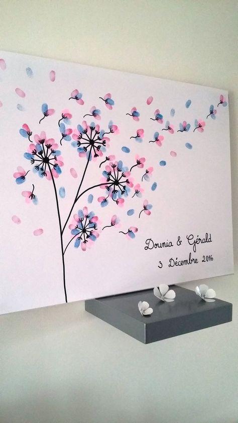 Ce sont vos invités qui vont créer ce tableau en ajoutant des empreintes colorées . Le résultat : une toile entièrement personnalisée en souvenir de l'un des plus beau jo - 19444950