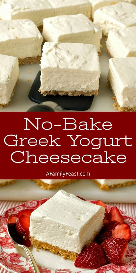 These No-Bake Greek Yogurt Cheesecake Squares are creamy and delicious with a wonderful tangy-sweet flavor thanks to the addition of whole-milk Greek yogurt and cream cheese. Your guests will love this easy dessert! Greek Yogurt Dessert, Greek Yogurt Cheesecake, Yogurt Pie, Greek Desserts, No Bake Desserts, Easy Desserts, Recipes With Greek Yogurt, Greek Yogurt Brownies, Desserts With Yogurt