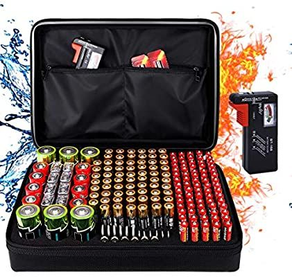Amazon Com Fireproof Battery Organizer Storage Box Fireproof Waterproof Explosionproof Safe Carrying Case Bag Battery Storage Batteries Testers Carrying Case