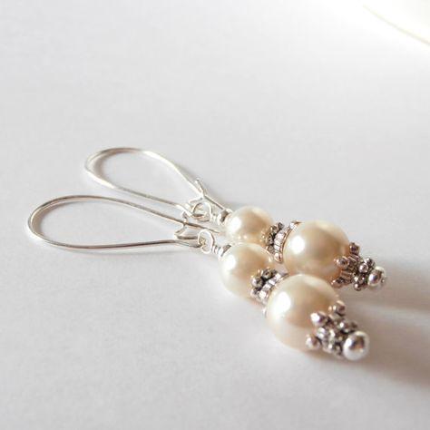 Ivory Bridesmaid Jewelry Pearl Bridal Earrings di FiveLittleGems