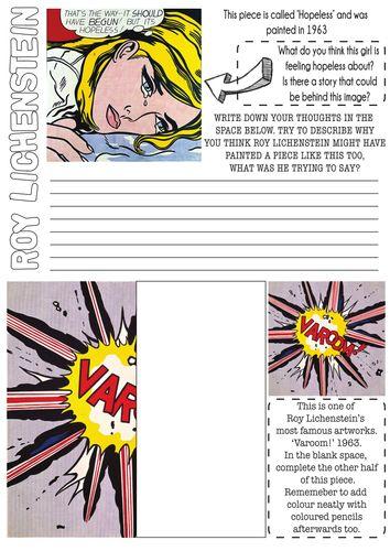 Roy Lichtenstein Pop Art Worksheet with Literacy task.
