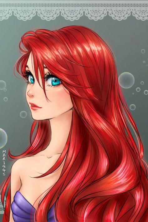 Las princesas disney dibujadas en modo anime: Ariel