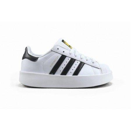 Frau Adidas Superstar Bold W Weiß Schwarz Gold