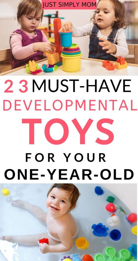 Best Developmental Toys for 1 Year Olds - Just Simply Mom Best developmental toys for your 1 year old, including items that help to develop cognitive learning, fine motor skills, and imaginative play. Sensory Activities, Infant Activities, Play Activity, Sensory Play, Baby Sensory, 1 Year Old Girl, One Year Old, Activities For 1 Year Olds, Diy Sensory Toys For 1 Year Old