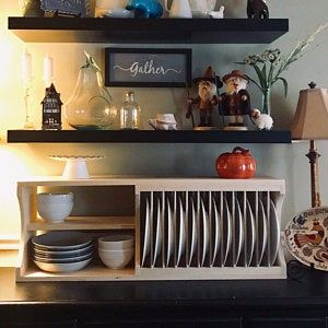 Stylish Kitchen Upgrades From Diy Kits Plate Racks Cabinet Plate Rack Plate Racks In Kitchen
