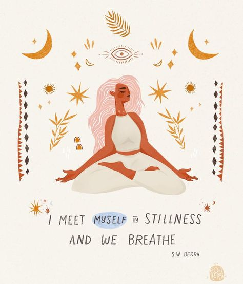 When was the last time you took a long, deep, belly-filled breath? ❈ I created this lil yogi as a daily reminder for myself to BE STILL &… Peace Quotes, Life Quotes, Yoga Kunst, Stage Yoga, Yoga Lyon, Yoga Art, Inspire Me, Wise Words, Positive Quotes