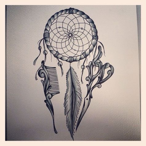 Hairstylist's Dreamcatcher Tattoo.            @alexcoulterart (Instagram) I think I love this.
