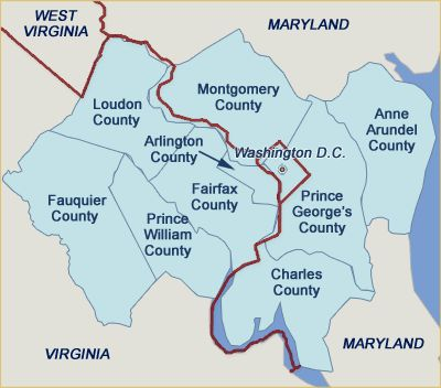 Dc County Map Good map of the counties surrounding Fairfax County. Arlington