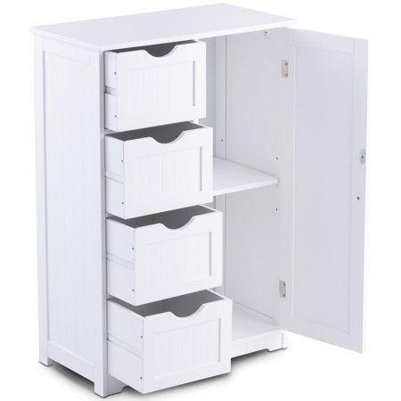 Goplus Wooden 4 Drawer Bathroom Cabinet Storage Cupboard 2 Shelves Free Standing White Walmart Com Bathroom Floor Cabinets Cupboard Storage Storage Cabinets