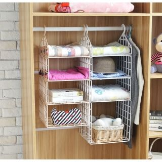 Diy Hanging Closet Foldable Organizer Clothes Shelf With Hook 2 Small 1 Big Layers Hanging Closet Organizer Hanging Closet Clothes Shelves