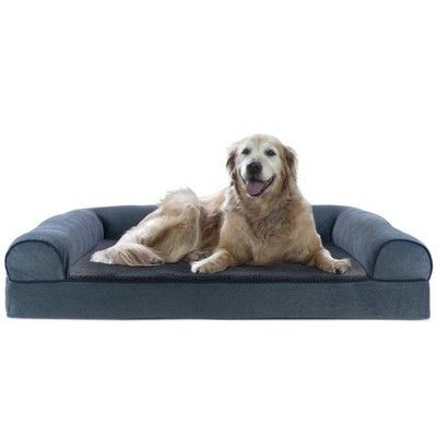 Furhaven Cooling Gel Memory Foam Faux Fleece Couch Pet Bed Orion Blue Jumbo Dog Pet Beds Dog Sofa Bed Couch Pet Bed