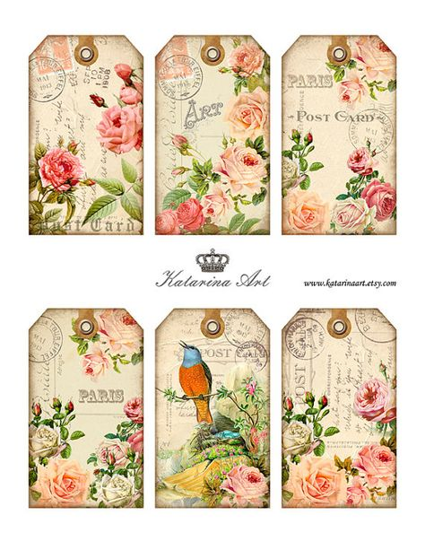 Shabby ROSES Tags