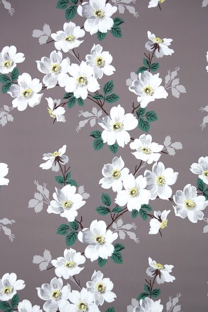 1940s Vintage Wallpaper By The Yard White Wild Roses On Brown
