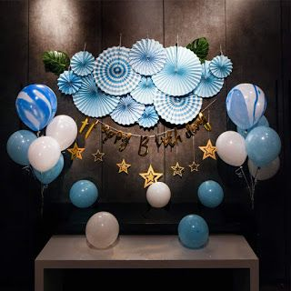 38 Pack Blue Fan Paper Decoration Happy Birthday Click Like