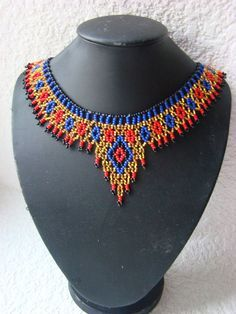 Red blue gold necklace Egyptian collar Egyptian jewelry Seed bead choker Unique gift Party accessory Statement necklace Gift for girlfriend de perlas