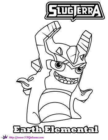 Earth Elemental Slug Coloring Page from SlugTerra  SKGaleana
