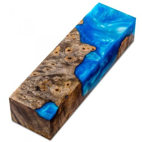 Sky Blue Burls and Swirls Knife Scale Block