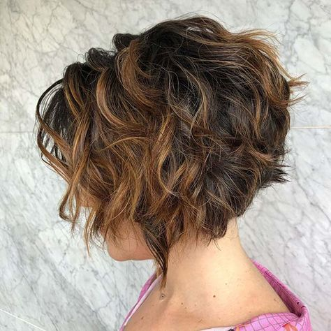 The Full Stack: 50 Hottest Stacked Haircuts Dark Curly Shaggy Bob With Highlights Curly Inverted Bob, Bob Hairstyles For Thick, Short Inverted Bob Haircuts, Curly Bob Haircuts, Inverted Hairstyles, Braided Hairstyles, Wedding Hairstyles, Medium Hairstyles, Black Hairstyles