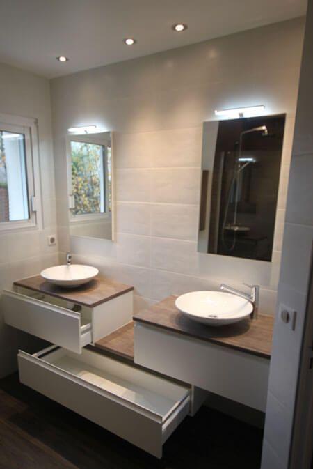 Meuble Double Vasques Decale Entre Mur Salle De Bain