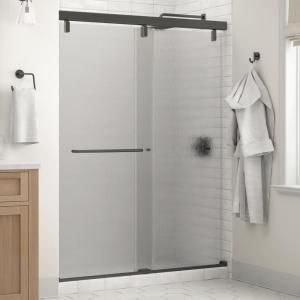 Delta Portman 60 X 71 1 2 In Frameless Mod Soft Close Sliding Shower Door In Bronze With 1 4 In 6mm Rain Glass Sd3442762 Sliding Shower Door Shower Doors Rain Glass