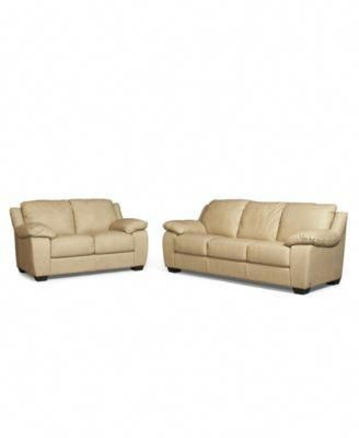 Blair Leather Sofa and Loveseat in Taupe, $2,788 (Black ...