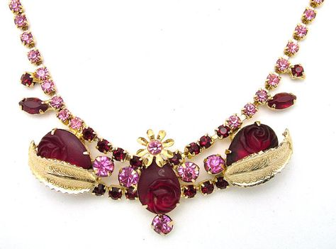 Vintage Necklace Pink & Red Rhinestones With Carved or Molded Red Roses